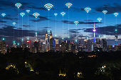 Wireless communication network in Big city in Asia concept. Abstract wifi icons on Kuala lumpur city landmark background