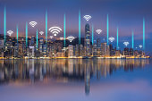 Technology and connection, Internet of things, Smart city concept, Modern city connects by wireless technology