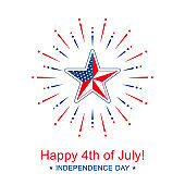 Vector Independence Day with star in national flag colors. Happy 4th of July banner