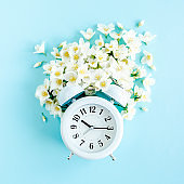 Composition-Summer time from Jasmine flower and clock, alarm on blue background. Flat lay, top view