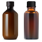 Brown glass pharmacy bottle. Medical syrup vial
