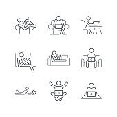 Work from home line icons,stay at home icons