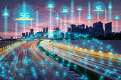 Wireless technology, telecommunication concept, Smart city connect by high-speed 5G technology