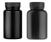 Black pill supplement bottle. Plastic vitamin jar