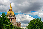 Les Invalides hospital and chapel dome in Paris, France