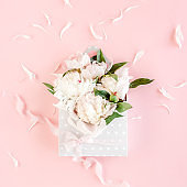 Beige bouquet of peonies in an envelope for flowers on pink background. Minimal floral concept greeting card. Flat lay, top view