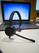 Headset with Speaker and Portable Notebook for Smart Working