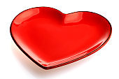 A red heart shape plate isolated on white background.
