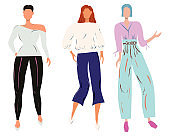 Group of females street style characters collection wearing leggings, wide trousers, wide culottes.