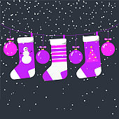 Purple and magenta Christmas socks and balls hanging on a garland with snowfall. Square design for New Year decoration card banner social media. Stock vector flat illustration isolated.