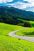 Mountain road passing through green alpine meadows in Italy.