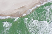 Baltic sea beach from above. Aerial drone shot.