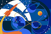 Cosmos travel on spaceship