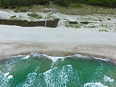 Top view of cold stormy and harsh Baltic sea photographed with a drone.