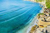 Bali, Bingin Beach in Uluwatu. Aerial drone shot.