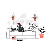 The character is reading a book. The girl with a passion for reading literature on sofa . Love to read modern writing.