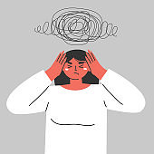 A woman suffers from obsessive thoughts, headache, unresolved issues, psychological trauma, depression. Flat vector illustration