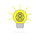 Light bulb with a brain inside, a sign of creativity. Vector illustration eps 10