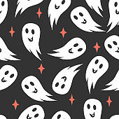 Halloween seamless pattern. Vector boo ghost background