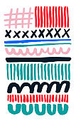 Hand painted, hand drawn trendy abstract color pattern graphic print, unique composition. Bright organic design with lines brush strokes waves curves U shapes crosses. Vivid coral red navy blue turquoise, lovely summer colors. Minimal Scandinavian style.