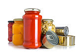 Preserved food: glass jars and metal tins isolated on white background