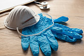 sanitary protection material, gloves and mask