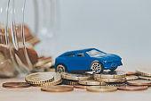 pot with coin and car savings