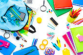 School or office supplies on white background. Back to school concepts.