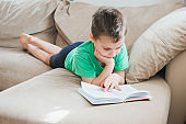 Boy reading at home.