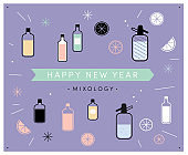 Happy New Year Mixology! A retro set of alcoholic non-alcoholic drink mixing dark outline icons. Flat graphic design elements logo label design. Contrasting funky cocktail spirit wine alcohol bottles liquids. Lemons oranges citrus fruit. Pastel background