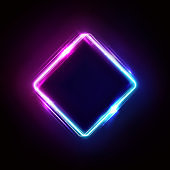 Neon rhombus frame or neon lights sign. Retrowave vector abstract background, tunnel, portal. Geometric glow outline rhombus shape or laser glowing lines. Background with space for your text