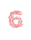 Number 6 pink colored seaweeds underwater ocean plant sea coral elements flat vector illustration on white background