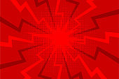 Comic red sunbeam background Retro pop art style cartoon