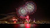 San Francisco New Year's Eve Fireworks with City Skyline