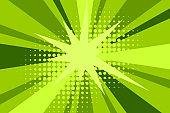 Comic green sunbeam background retro pop art style cartoon