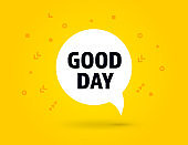 Good Day speech bubble banner pop art style