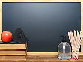 safety mask for children and instant hand sanitizer and an apple in front of a blackboard