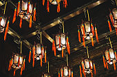 Lamp or Lantern decoration in chinese temple (Man Mo Temple) in HongKong