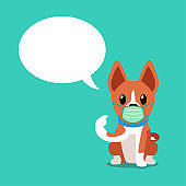 Cartoon character basenji dog wearing protective face mask with speech bubble
