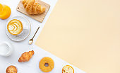 Set of breakfast food or bakery,cake on table kitchen background.cooking