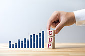 Economy concepts with GDP growing.Business financial and investment planning.government management on crisis situation.