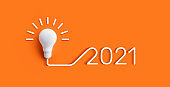 2021 Creativity and nspiration ideas concepts with lightbulb on pastel color background
