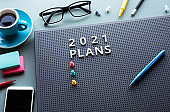 2021 plan with text on desk table.Business management.motivation to success concepts