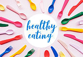Healthy eating concepts with text and colorful spoon,fork.Nutrition for life