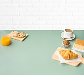 Set of breakfast food or bakery and coffee on table kitchen background.