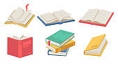 Textbooks with bookmarks and pages, isolated icons of stack of open books. Literature for leisure and magazines for educational purposes. Catalogs and journals, diary for writing vector in flat