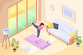 Yoga at home, woman doing exercise pose in room on yoga mat, vector isometric illustration. Yoga sport and stretch workout or morning exercises in room, girl home fitness and health activity