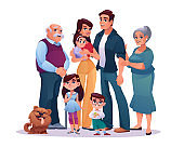 Big family parents, grandparents and children isolated on white. Vector cartoon mother and father, grandmother and grandfather, infant daughter and son. Kids and pet dog, happy relatives portrait