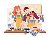 Parents showing how to cook to their daughter. Mom and dad with girl preparing food for lunch or dinner. Father helping kid to mix or stir. Mother making salad. Cartoon character, vector in flat style