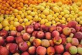 fresh organic fruits on a market